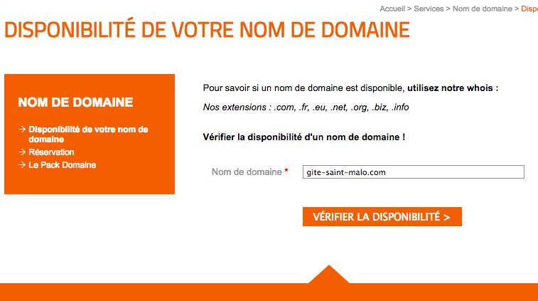 tester la disponibilité du nom de domaine