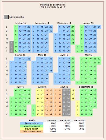 calendrier des disponibilités