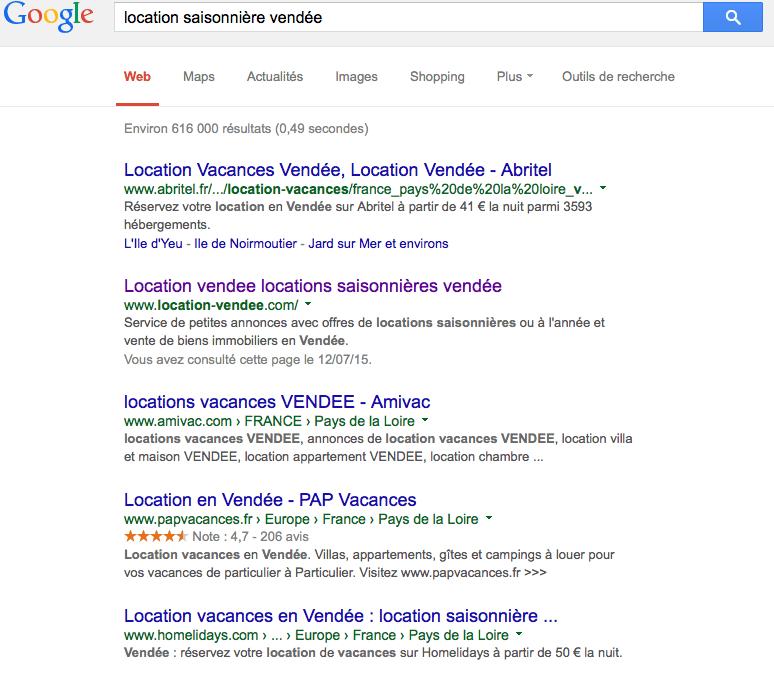 recherche google location saisonniere vendee